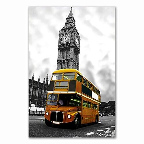 Nórdico negro blanco ciudad de Londres punto de referencia paisaje de la calle Big Ben autobús de dos pisos lienzo pintura arte de pared póster sala de estar estudio decoración del hogar mur