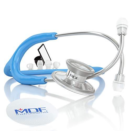 MDF® Acoustica® Deluxe Estetoscopio ligero de doble cabeza - Garantía-de-por-vida & Programa-piezas-gratuitas-de-por-vida - (MDF747XP) (Azul Intenso)