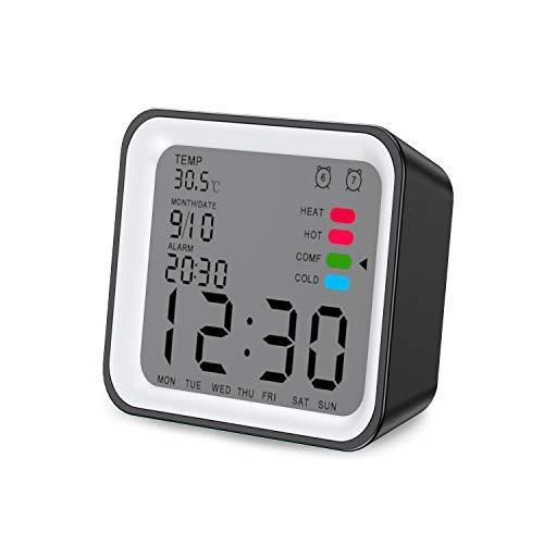 Reloj Despertador Digital,4 Pulgadas Silencioso Simple Portátil Despertador luz LCD doble Alarma Función de Repetición Funciona con Pilas para Cocina Dormitorio Escritorio Reloj de Mesa