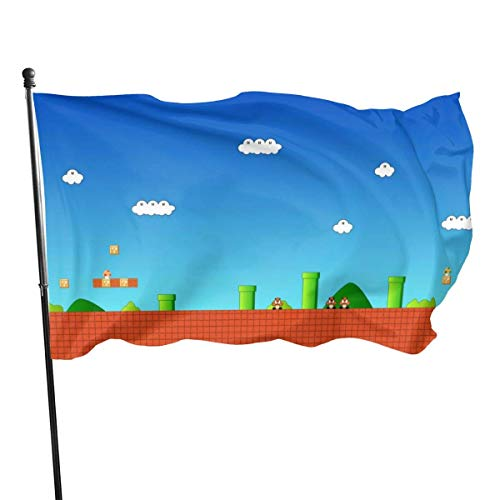 BHGYT Mario Beautifu Pilz Karte Flagge 3x5 FtDecorative Outdoors Anti UV Fading Innen Flags Saisonale und Holiday Yard Flag Banner Polyester 3x5 Fuß