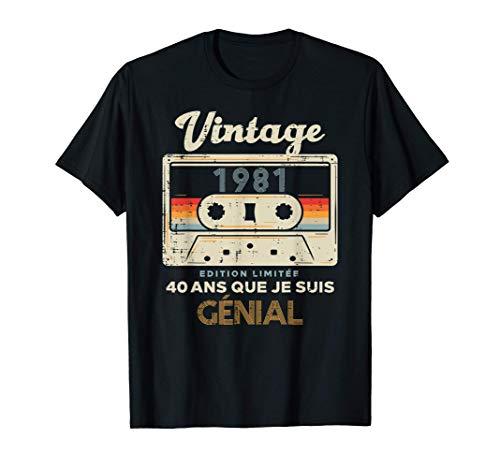 40ème Anniversaire Cassette Vintage Retro 1981 40 Ans Cadeau T-Shirt