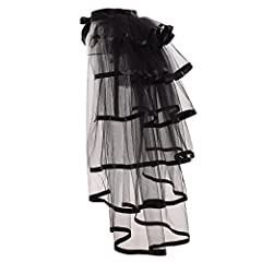 Material:black tulle and ribbon Steampunk bustle Fancy dress over skirt Free size fit all ladies Thanksgiving, Halloween or school party