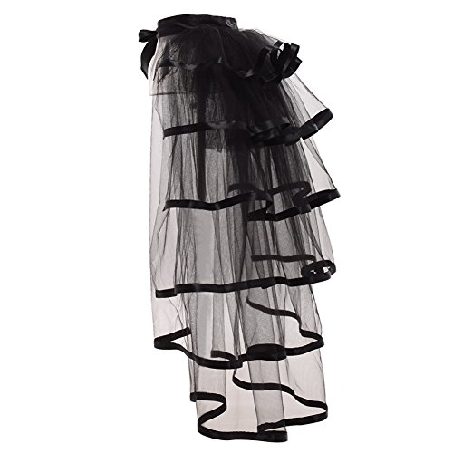 GRACEART Steampunk Black Bustle Tutu Belt Lace Underskirt (Black Hem) steampunk buy now online