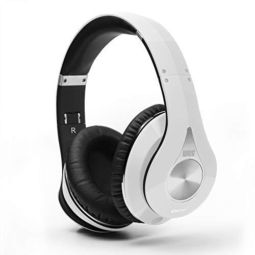 August EP640 Bluetooth v4.1 aptX NFC Kopfhörer - Over-Ear Stereo Headset mit integrietem Mikrofon 3,5mm Audio-Eingang kabellose Kopfhörer mit Multipoint bis zu 20 Stunden Akkulaufzeit (Schwarz)