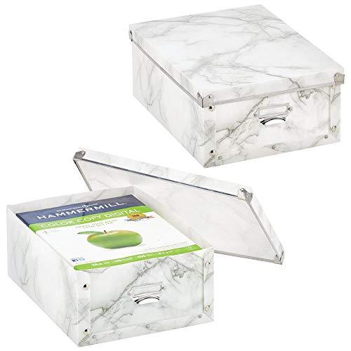 mDesign Juego de 2 cajas de plástico con tapa – Cajas apilables etiquetables para la cocina, la habitación infantil o el baño – Cajas organizadoras con efecto de mármol – blanco y gris
