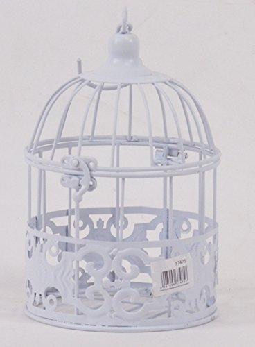 DekoStore.eu Cage à oiseaux en métal 26 cm x 14 cm – Antique Blanc – Déco Nostalgie Nichoir Nid d'oiseau