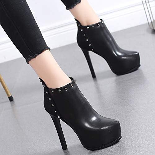 HRCxue Femmes Bout Rond Plateforme imperméable Chaussures à à Talon Haut Chaussures Martin Bottes Femme Rivet Bottes à la Mode Talons Aiguilles  sortie