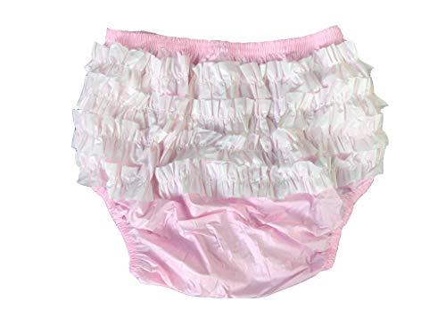 Haian Rumba-Inkontinenzhose für Erwachsene, Kunststoff, mit Rüschen, aus weißem PVC, Größe XXL, Babyrosa