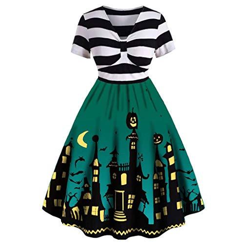 POLP Halloween Vestidos de Fiesta Largos Vintage con Cuello en V Vestidos de Manga Corta Rayas Plisado Disfraz Halloween para Mujer