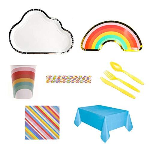 Prominy Juego De Vajilla Desechable para Fiestas Rainbow Cloud, 32 Platos De Papel, 16 Vasos De Papel, 20 Servilletas, 2 Manteles, Artículos De Fiesta para Cumpleaños De Niños O Adultos A