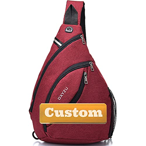 Personalizado Nombre Personalizado Sling Crossbody sobre Bolso de Hombro Hombre Men USB School Bag (Color, Size : One Size)