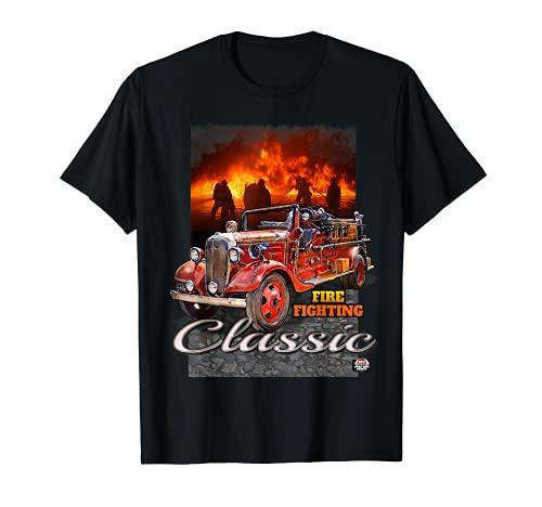 クラシック アンティーク 消防車 早期ファーストレスポンダー Tシャツ