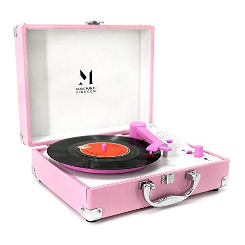Tocadiscos, mini maleta giratoria portátil para discos de vinilo de 7 pulgadas, tocadiscos de 2 velocidades con transmisión por correa con altavoz estéreo incorporado (Rosa)