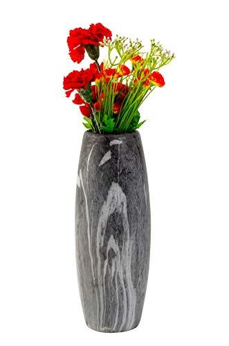 Lifestyle & More Moderne Dekovase Blumenvase Tischvase Vase aus Keramik marmoriert grau/weiß Höhe 30 cm