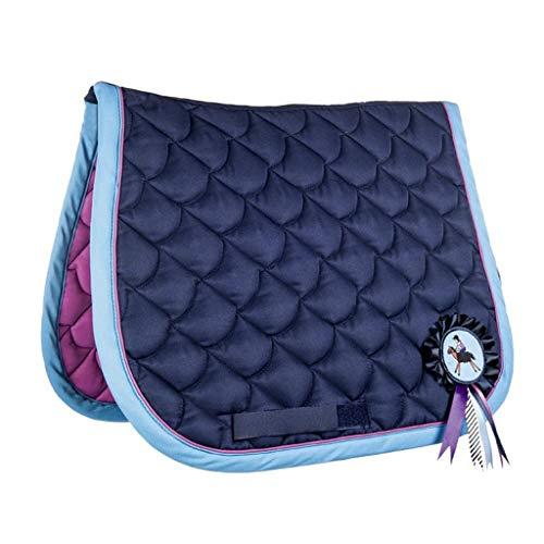 HKM 4057052141690 Tapis de Selle réversible Motif Horses 2 en 16939 Bleu foncé/Rose foncé