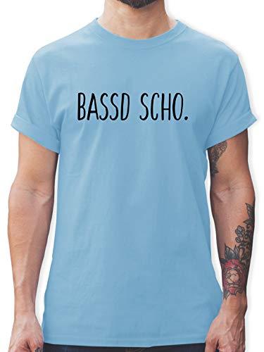 Franken Männer - Bassd Scho. - XL - Hellblau - männer t Shirts - L190 - Schlichtes Männer Shirt