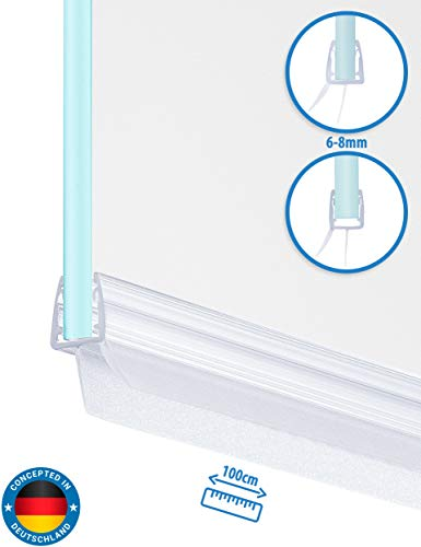 Universal Duschkabinen Dichtung | Duschdichtung für 6mm, 7mm, 8mm Glasdicke | 100cm lange Gummilippe | Duschleiste mit Wasserabweiser an der Dichtung (1)