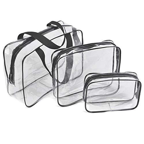 3 Stück Kosmetikbeutel Durchsichtig,PVC Wasserdicht Kulturtaschen Set Clear Toiletry Bag Reise Set Kulturtasche Für Männer Und Frauen Ideal Für Flugreise, Flugzeug, Badezimmer,Multi-Größen