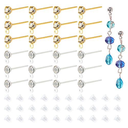 PandaHall 120 pendientes de diamantes de imitación con lazo y 200 piezas de pendientes de latón hipoalergénico para hacer joyas de bricolaje dorado y plateado