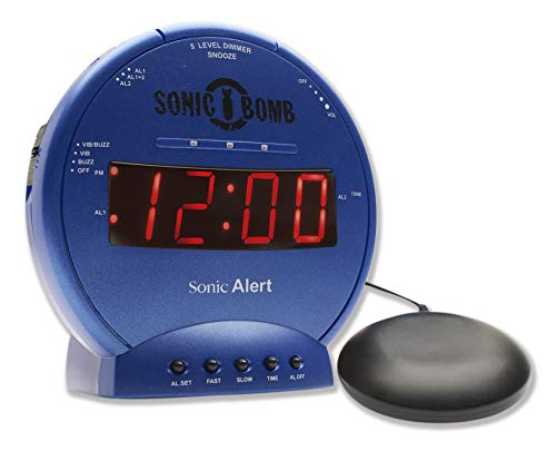 Sonic Alert Sonic Bomb Dual Alarm Clock with Bed Shaker, Blue Vibrating Alarm Clock Heavy Sleepers, Battery Backup | Wake with a Shake