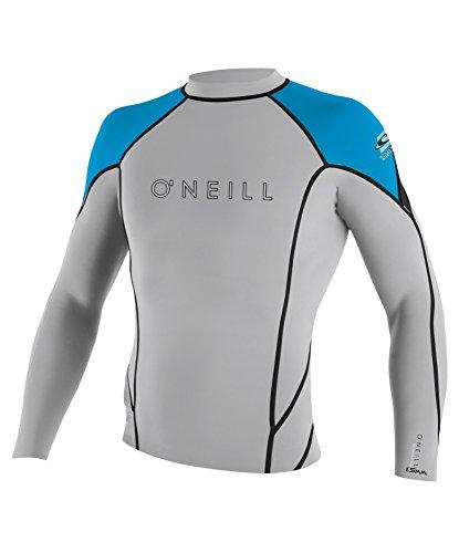 O'Neill Wetsuits Men's Hyperfreak 1.5mm Long Sleeve Crew, Lunar/Sky/Black, Small