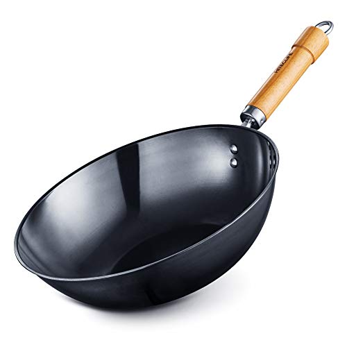 Wok Pan, 12 inch High Carbon Steel Wok, Chemical-free Stir Fry Pan with Detachable Wood Handle, Scratch Resistant Chinese Iron Pot, Oven Safe