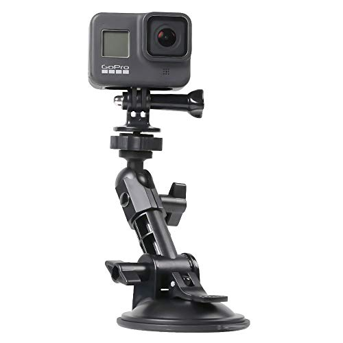 SUREWO Car Suction Cup Mount for GoPro Hero 9 8 7 6 5 4 Black,Boats Vehicle Windshield & Window Camera Holder Compatible with GoPro,DJI Osmo Action,XiaoMi YI and Most Action Cameras