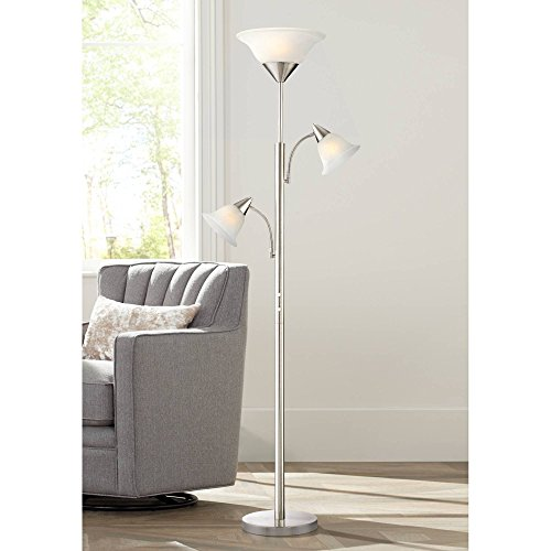Jordan Modern Contemporary Tall Torchiere Floor Lamp Tree 3-Light Brushed Nickel Silver Alabaster Glass Shades for Living Room Reading House Bedroom Home Decor Office Uplight - 360 Lighting
