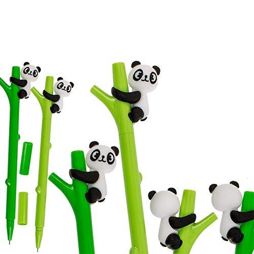 Lot de 2 stylos à billes en plastique, PANDA - Env 6 cm - 2 couleurs (vert clair et vert foncé)