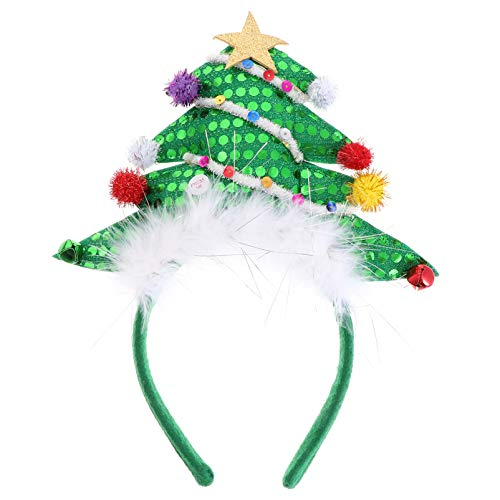 Lurrose Sequin Glitter Christmas Tree Diademas con Pluma Satr Bell Led Light up Christmas Tree Hair Hoop Accesorios para El Cabello de Navidad para Regalos de Fiesta de Navidad Verde