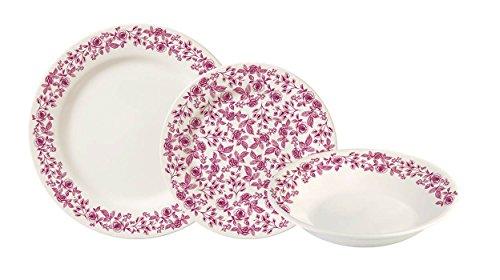 Corona Clavel Vajilla, Porcelana, Rosa, 23x29x30 cm, 18 Unidades