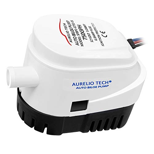 AURELIO TECH 12V 750GPH Automatic Submersible Bilge Pump for Boats with Float Switch