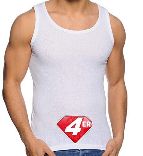 Herren Tank Top (4-Pack) Unterhemd Shirt Baumwolle Achselhemd Feinripp Gr M-XXXL (L, Weiß Doppelripp)
