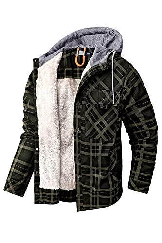 Mr.Stream Camicia Hooded da Uomo da Boscaiolo Plaid Flanella A Quadri Checked Camicia Imbottita da Lavoro di Cotone Cappotto Hoody 2XL Green