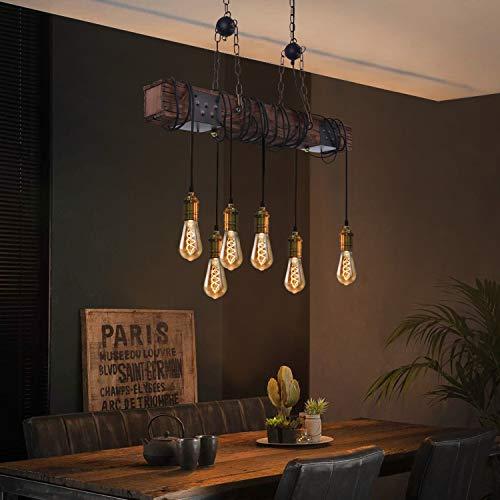 ZMH Vintage Pendelleuchte Hängelampe Holz Hängeleuchte esstisch Pendellampe Retro Esstischlampe 80CM Holzbalken 6-Flammige E27 industrielle für Esszimmer Küche Bar Restaurant