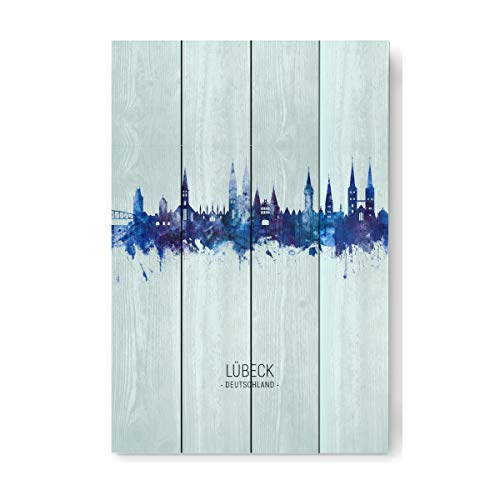 artboxONE Holzbild 60x40 cm Städte Lübeck Germany Skyline Dark Blue von Künstler Michael Tompsett