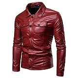 Mens Leather Jacket Chaqueta de Cuero al Aire Libre de la Moto de los Hombres Capa de...