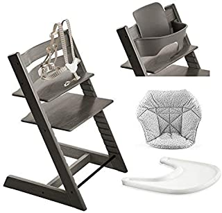 Stokke Tripp Trapp High Chair, Baby Set - Hazy Grey, White Tray & Mini Baby Cushion - Cloud Sprinkle