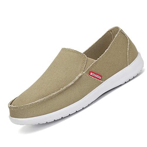 Mishansha Alpargatas para Hombre Slip On Mocasines De Verano Zapatos de Conducción Suave Espadrillas Casual Zapatos de Lona Transpirable,Khaki 44