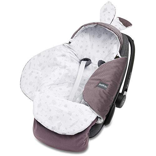Universal Baby Einschlagdecke für Babyschale und Autositz Kinderwagendecke Fußsäck aus Baumwolle und Samt z.B. passend für Maxi-Cosi, Römer, Cybex - Toffi