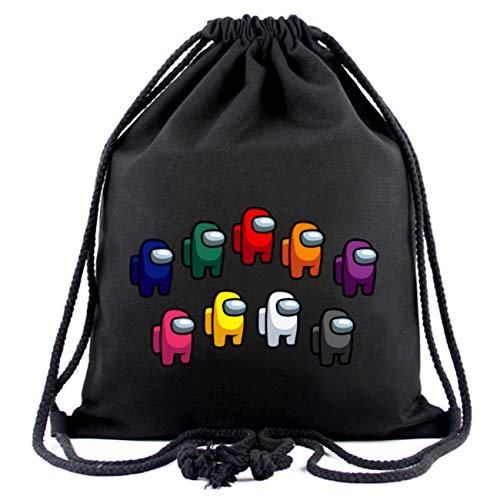Besoar Gym Drawstring Bag Sackpack Backpack Among, Cute Kawaii Cartoon Cool Sports Bags Fashion Unique Fun Funny for US Women Men Girls Boys Kids Ladies Gym Sack Bag Aesthetic Black Design (Family)