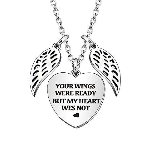 Collar conmemorativo para mujer y niña, joyería en memoria de un padre querido, mamá – Your Wings was Ready My Heart was Not