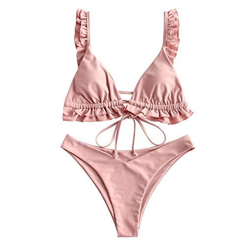 ZAFUL Damen Gepolsterte Bikini Set, Dreieck Cup Rüschen Krawatte High Cut Bikini Badeanzug (Rosa, S)