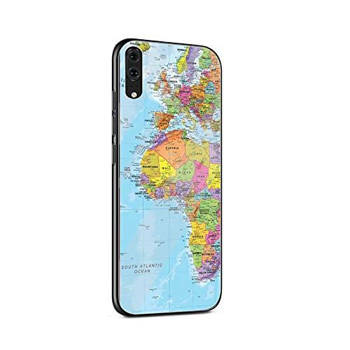 Mapa del mundo de vidrio templado caso del teléfono para Huawei P10 P20 P30 Lite P20 P30 Pro P smart Protection Cover Coque-G8-para Huawei P20 Lite