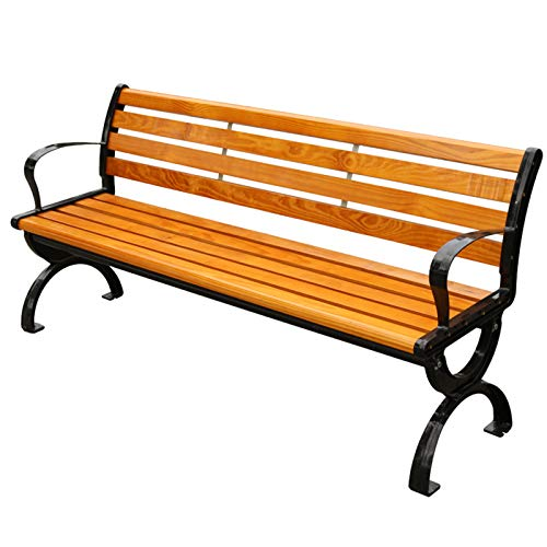 Outdoor garden bench terrace wooden bench, 2-3 seats aluminum park bench promenade furniture, Weather-resistant anticorrosive solid wood bench with backrest, Reinforced design can carry 400kg