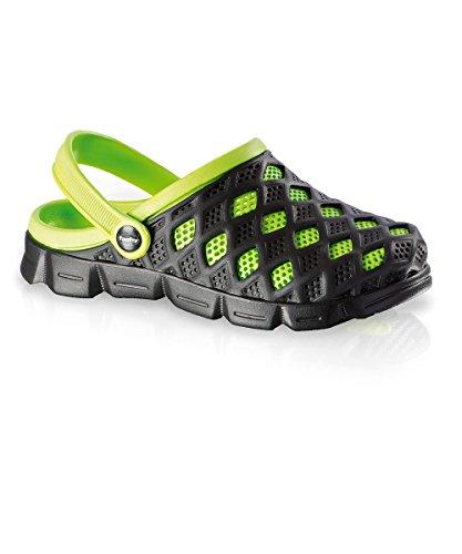Fashy Damen und Herren Ultraleicht-Clog, Farbe schwarz, grün, Größe 41