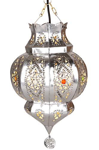 Orientalische Lampe Pendelleuchte Argana Silber E27 Lampenfassung   Marokkanische Design Hängeleuchte Leuchte aus Marokko   Orient Lampen für Wohnzimmer, Küche oder Hängend über den Esstisch