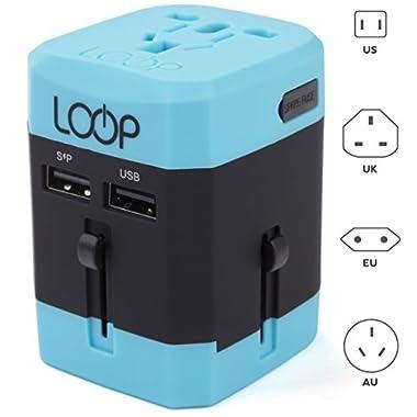 LOOP World Adapter Plug, Worldwide Travel Adapter Charger [US UK EU AU CN] w/ Dual USB Charging Ports & Universal AC Socket - Safety Fused (Blue)
