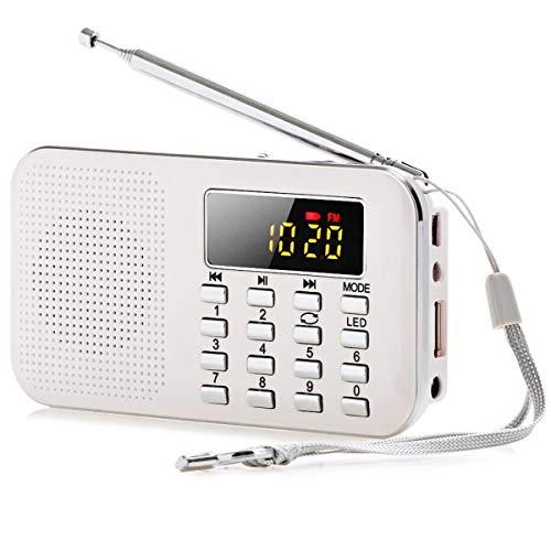 Altavoz de radio, Fm Am Digital LCD Fuerte Altavoz USB Tf Led Luz multifuncional portátil con función de linterna, uso cómodo en interiores y exteriores (color: blanco)