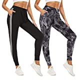 QGGQDD Paquete de 2 pantalones deportivos para mujer – Pantalones deportivos con bolsillos Yoga Lounge Pantalones de entrenamiento negros, Gris Tie-dye/ White Strip Black, Medium